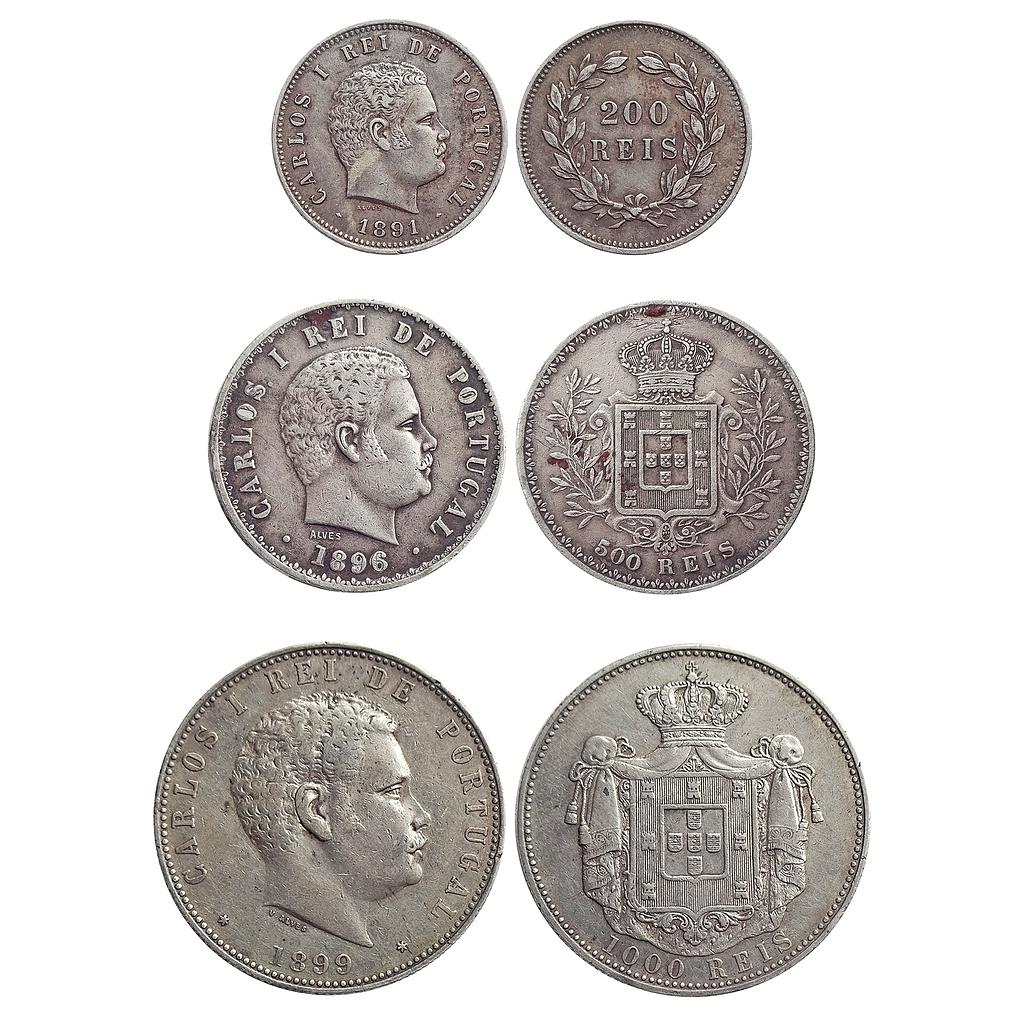 Portugal, Carlos I, Silver Reis, Set of 3 coins