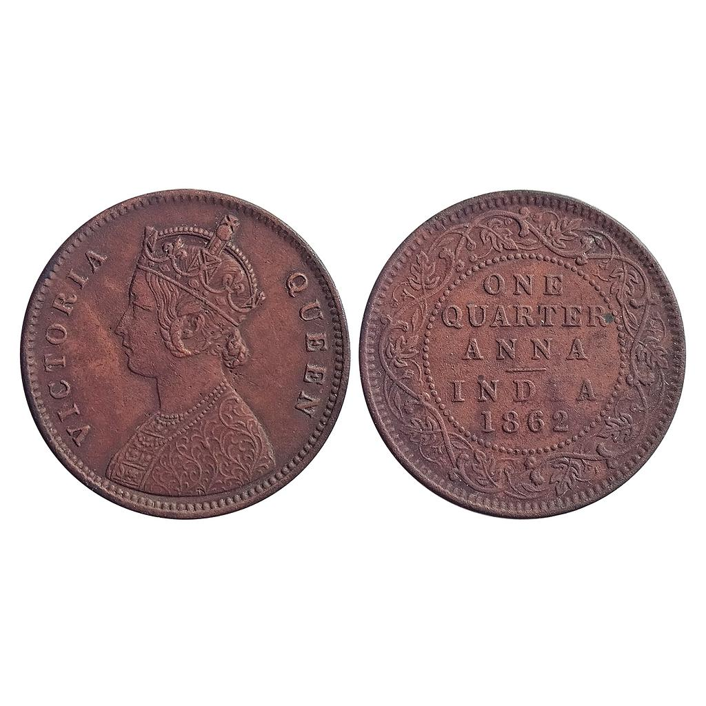 "British India, Victoria Queen, 1862 AD, Calcutta Mint, Copper"" 1/4 Anna"""