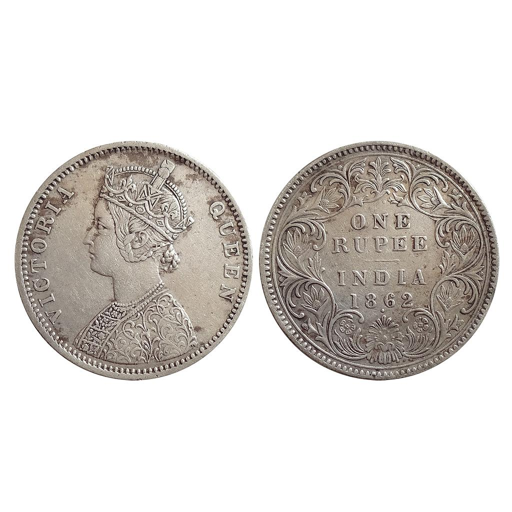 British India, Victoria Queen, 1862 AD, Bombay Mint, A / I / 1 / 1, Silver Rupee