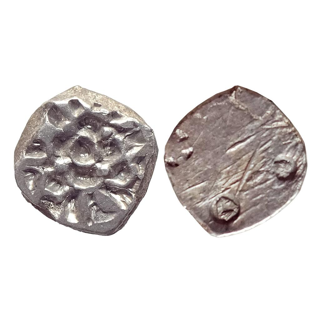 Ancient, Archaic Series, Punch Marked Coinage, Attributed to Pauravas of Kaushambi, Silver ½ Karshapana