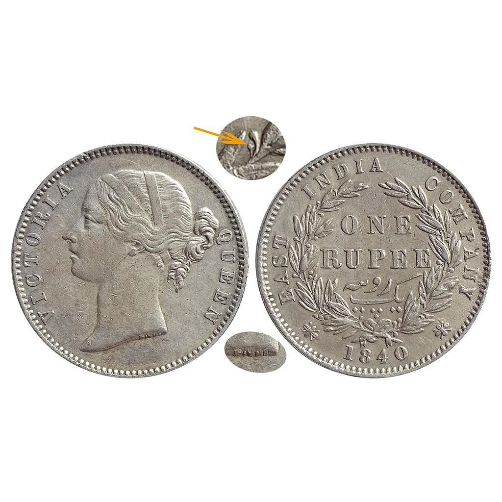 EIC, Victoria Queen, 1840 AD, DL, Madras Mint, W.W.S raised, 29 Berries (14L+15R), Silver Rupee