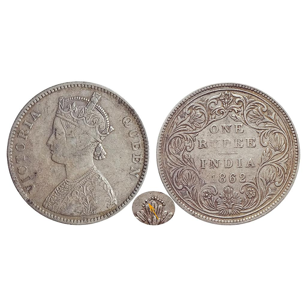 British India, Victoria Queen, 1862 AD, Bombay Mint, A / II / 0 / 11, Silver Rupee