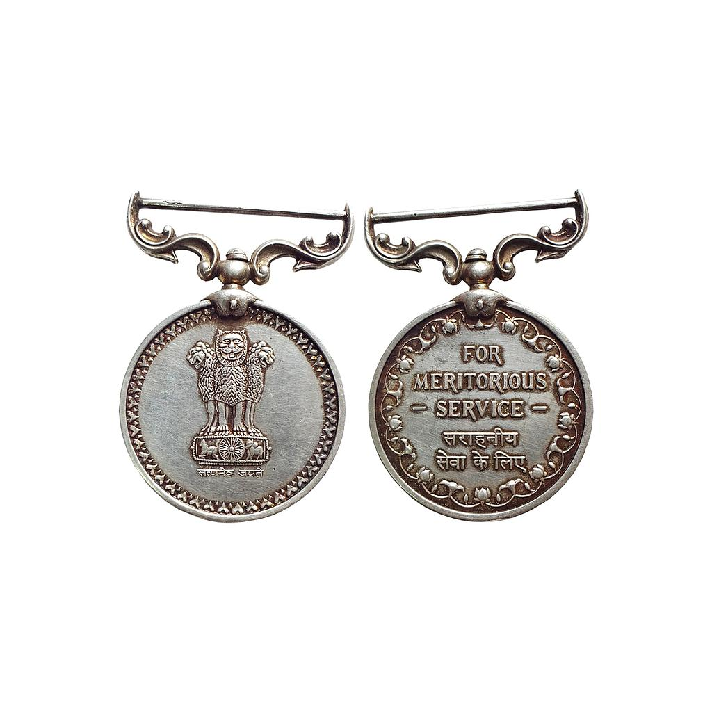 Republic of India, For Meritorious Service, Silver Medallion