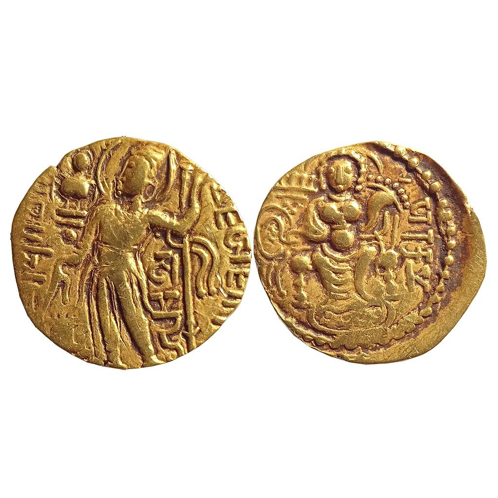 Ancient, Gupta Empire, Gold Dinar of Samudra Gupta I, Gold Dinar of Javelin Type (Standard)