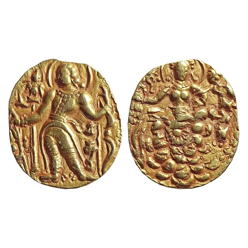 "Ancient, Guptas, Chandragupta II, ""Archer type"" Gold Heavy Dinar"